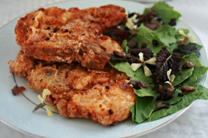 Szechuan Red Wine Pork Chops with a Salad of Horseradish Greens and Mustard Leaves