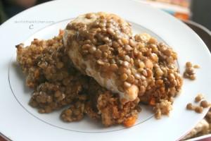 Lentil Chicken over Stuffing