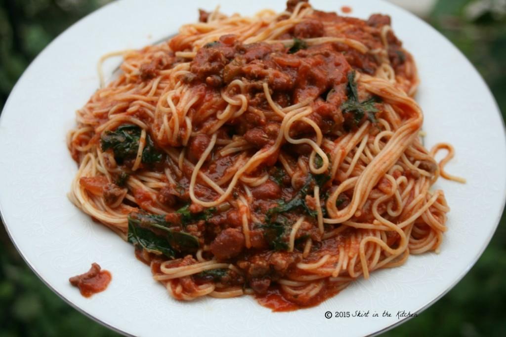 Kale Chili Bean Spaghetti
